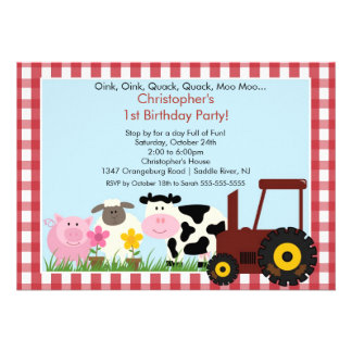 Barnyard Animal Fun Birthday Party Invitation