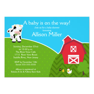 Barnyard Animal Neutral Baby Shower Invitation