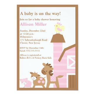 "Barnyard Animals Baby Girl Shower Invitation 5"" X 7"" Invitation Card"