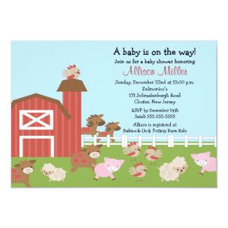 Barnyard Animals Baby Girl Shower Invitation