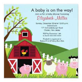 "Barnyard Animals Baby Shower Invitation 5.25"" Square Invitation Card"