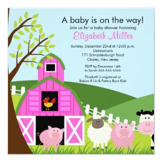 "Barnyard Animals Baby Shower Invitation for girls 5.25"" Square Invitation Card"