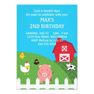 "Barnyard Animals Birthday 5"" X 7"" Invitation Card"
