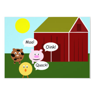 Barnyard Animals Kids Birthday Party Invitations