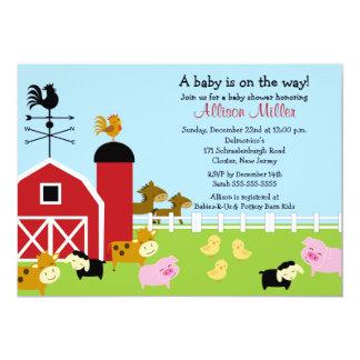 "Barnyard Baby Animails Baby Shower Invitation 5"" X 7"" Invitation Card"