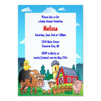 Barnyard Baby Shower Invitaions Card