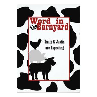 """Barnyard Baby Shower 5"""" X 7"""" Invitation Card"""