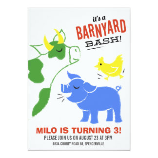 Barnyard Bash 13 Cm X 18 Cm Invitation Card