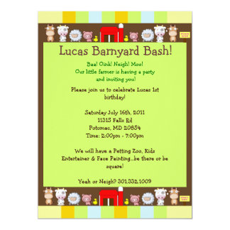 Barnyard Bash 17 Cm X 22 Cm Invitation Card