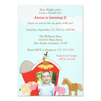 Barnyard Birthday Party 13 Cm X 18 Cm Invitation Card
