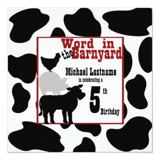 "Barnyard Birthday Party 5.25"" Square Invitation Card"