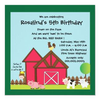 Barnyard Birthday party invites -green