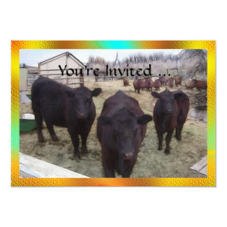 Barnyard Cattle 13 Cm X 18 Cm Invitation Card