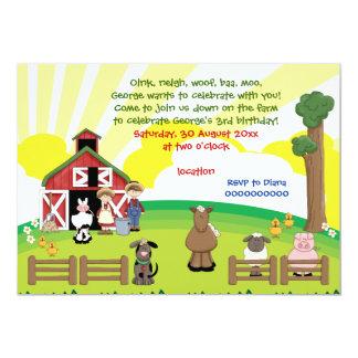 Barnyard farm animal kids birthday 13 cm x 18 cm invitation card