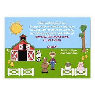"Barnyard farm animal kids birthday invitation 5"" x 7"" invitation card"