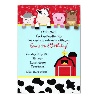 Barnyard farm animals Birthday Party invitations