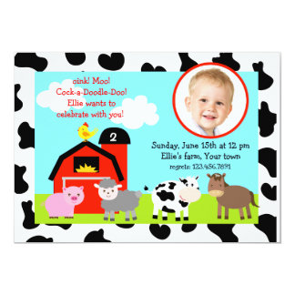 Barnyard Farm Animals Photo Birthday Invitations