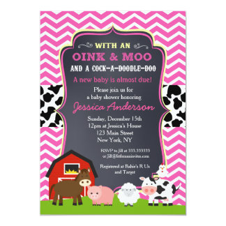 Barnyard Farm Baby Shower Invitations