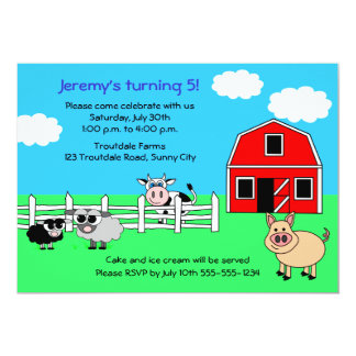 Barnyard Farm Birthday Invitation