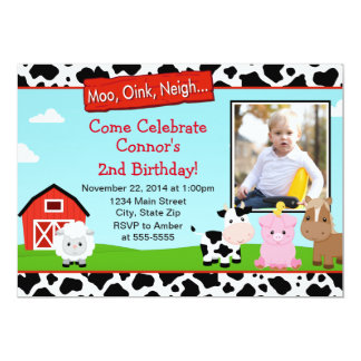 Barnyard Farm Birthday Invitation 5x7 Photo Card