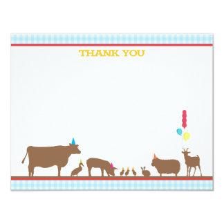 "Barnyard Flat Thank You Note 4.25"" X 5.5"" Invitation Card"