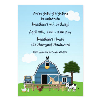 "Barnyard Friends Birthday Invitation 5"" X 7"" Invitation Card"