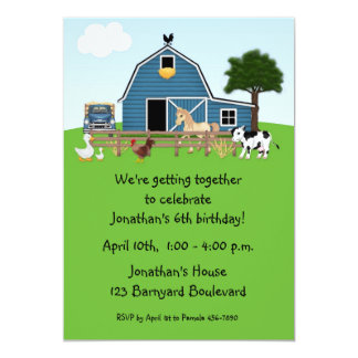 "Barnyard Friends, Green, Birthday Invitation 5"" X 7"" Invitation Card"