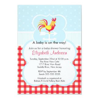 Barnyard Rooster Baby Shower Invitation