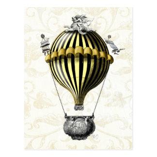 Baroque Balloon Black Yellow Postcard