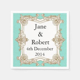 Baroque Mint Wedding Set Paper Napkins