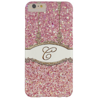 Baroque Roccoco Gold Monogram C Bokeh Glitter Pink Barely There iPhone 6 Plus Case