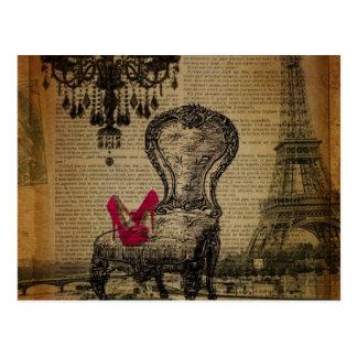 baroque rococo chandelier paris eiffel tower postcard