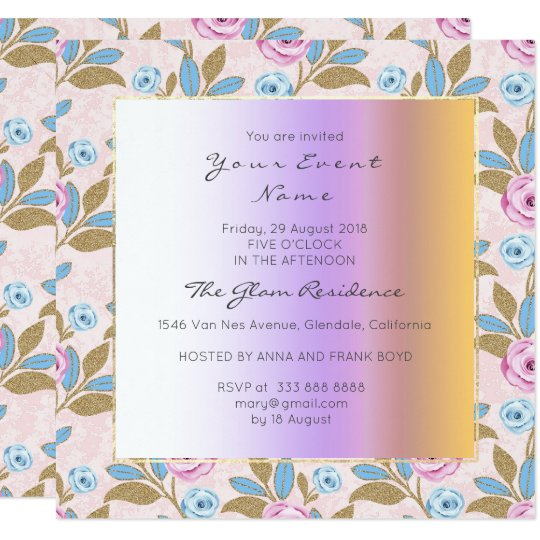 Baroque Versaille Marie Antoinette Floral Pastel Card