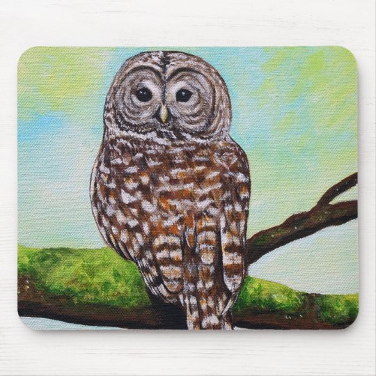 Barred Owl Painting Mouse Pad