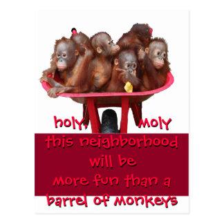 Barrel of Monkeys Fun Moving Change Postcard
