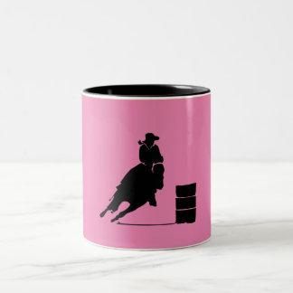 Barrel Racing Girl Silhouette on Pink Backdrop Mug