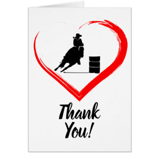 Barrel Racing Horse and Red Heart Thank You Card