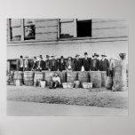Barrels of Bootleg Liquor, 1922. Vintage Photo Poster