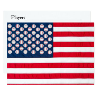 Baseball & American flag invitation