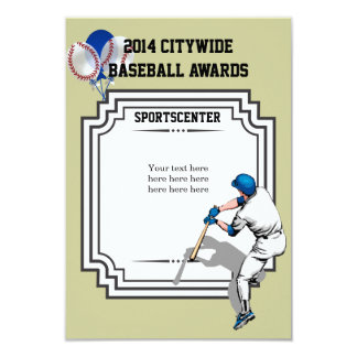 Baseball Award Certificate Card