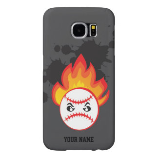 Baseball ball on fire samsung galaxy s6 cases