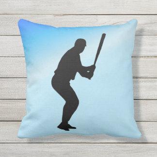Baseball Batter Blue Sports Outdoor Cushion