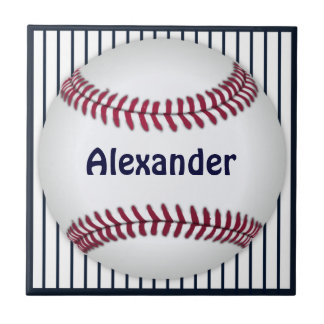 Baseball Blue Pinstripes Personalized Small Square Tile
