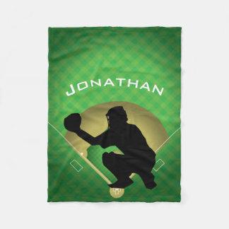 Baseball Catcher Design Fleece Blanket