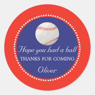Baseball Favour Label Thank You Sticker