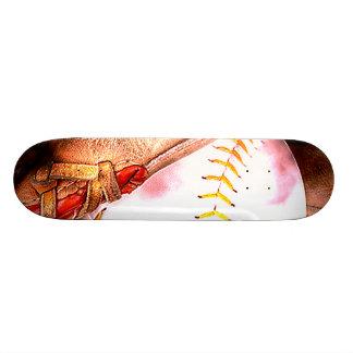 Baseball & Glove Grunge Style Skateboard