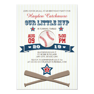 "BASEBALL MVP BIRTHDAY INVITATION FOR CHILDREN 5"" X 7"" INVITATION CARD"