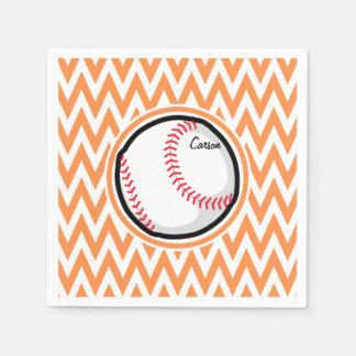 Baseball; Orange and White Chevron Paper Serviettes