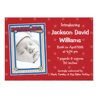Baseball Photo Birth Announcement