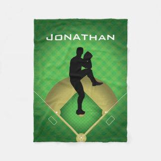 Baseball Pitcher Design Fleece Blanket